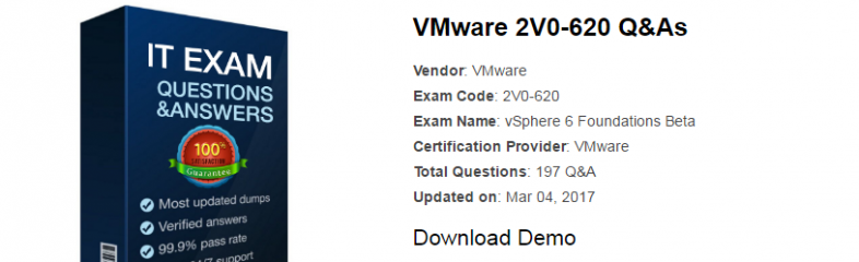 High Quality 2V0-620 PDF Questions Answers: vSphere 6 Foundations Beta Certification Training